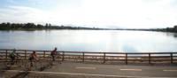 Pedalling along the Ashuapmushan River, Saguenay–Lac Saint-Jean