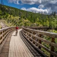 Wooden Trestle Bridges of the Kettle Valley rail trail near Kelowna, BC