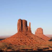 The Monument Valley buttes, on the Utah - Arizona border, lights up at sunset   Brad Atwal