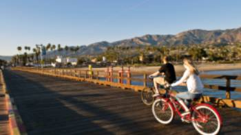 Biking on Stearns Wharf | Visit Santa Barbara / Jay Sinclair